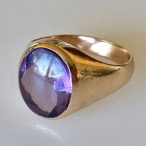 Lovely Edwardian 14k Mens Amethyst Pinky Ring 9.3g